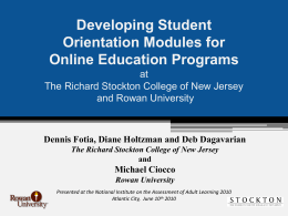 Developing Student Orientation Modules for Online Education