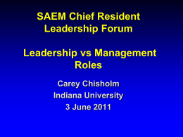 SAEM Chief Resident Leadership Forum