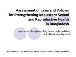 Assessment of laws and policies for strengthening adolescent