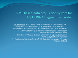 VME based data acquisition system for ACCULINNA