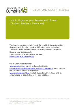 Organising your assessment of need for DSA
