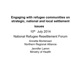 Engaging with refugee communities on strategic, national and local