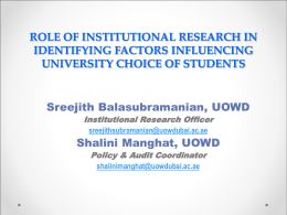 Role of institutional research in identifying factors influencing