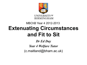 Extenuating Circumstances and Fit to Sit Presentation for Year 4