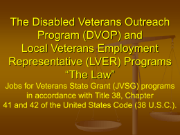 LVER Duties VPL 07-05 - National Veterans` Training Institute