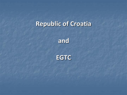 Tomislav Belovari (CRO) - Republic of Croatia and EGTC