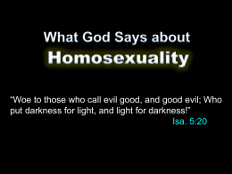 What God Says About Homosexuality