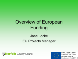 Overview of European Funding - Norfolk County