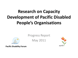 Research on Capacity Development of Pacific Disabled People`s