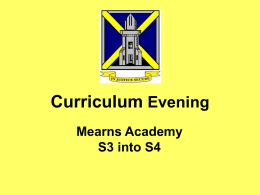 Curriculum Evening presentation