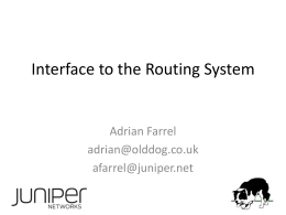 Interface to the Routing System