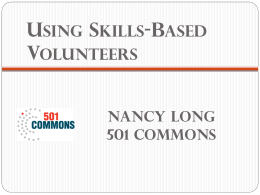 Presentation slides on engaging volunteers in skills