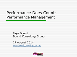 Performance does count, performance management