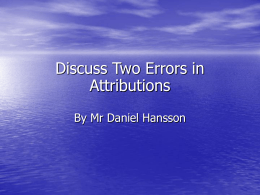 PPT Discuss two errors in attributions