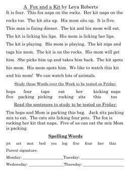 Unit 1 Week 4 A Fox and a Kit story_ words_ spelling