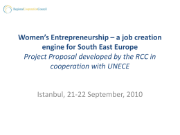 Women`s Entrepreneurship - Regional Cooperation Council