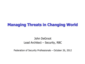 Managing Threats in a Changing World