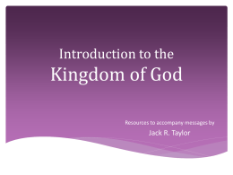 Introduction to the Kingdom of God
