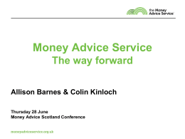 The Money Advice Service: a new approach