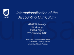 Internationalisation of the accounting curriculum, RMIT