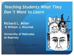 Miller _ Wozniak session - Society for the Teaching of Psychology