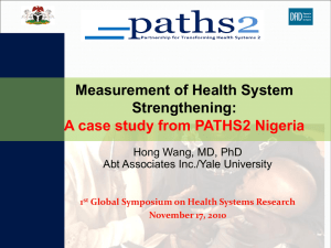 Measurement of Health System Strengthening, A