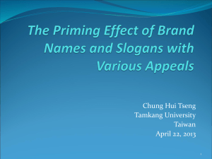The Priming Effect of Brand Names and Slogans with Various Appeals