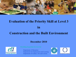 Evaluation of the Priority Skill at Level 3 in Construction and the Built