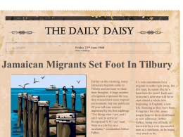 Jamaican Migrants Set Foot In Tilbury