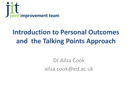 Personal outcomes approach