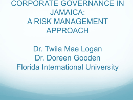 Corporate Governance in Jamaica: A Risk