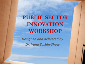 INNOVATION SKILLS FOR THE PUBLIC SECTOR