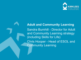 Adult Skills Budget - Community Learning in Kirklees