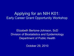 Applying for an NIH K01: Early Career Grant Opportunity Workshop