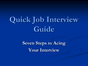 Quick Job Interview Guide Seven Steps to Acing Your