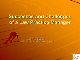 Successes and Challenges of a Law Practice Manager - ACAS-LAW