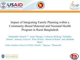 Impact of Integrating Family Planning within a Community
