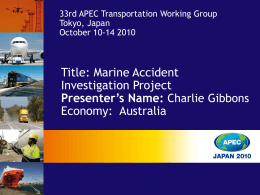 Marine Accident Investigation Capability and Capacity Project
