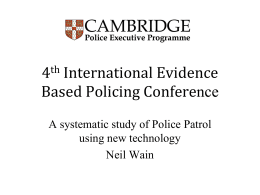 A systematic study of Police Patrol using new technology