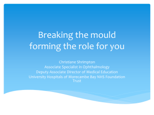 Breaking the mould – forming the role for you