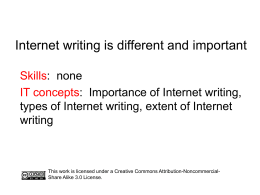 Internet writing – different and important