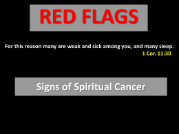 Signs of Spiritual Cancer - Radford Church of Christ