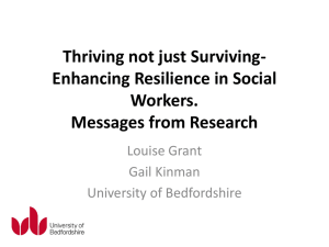 Thriving not just Surviving- Enhancing resilience in Social Workers