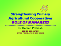 Strengthening Primary Agricultural Cooperatives ROLE
