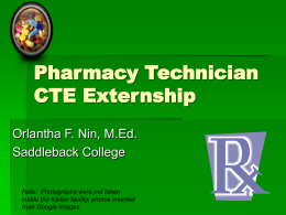 Pharmacy Technician Externship