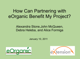 How can partnering with eOrganic benefit my project?
