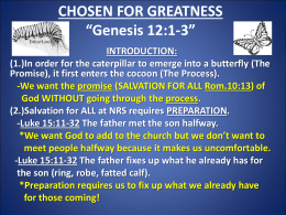 "CHOSEN FOR GREATNESS ""Genesis 12:1-3"""