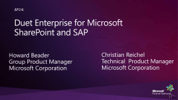 BP14i: Duet Enterprise for Microsoft SharePoint and SAP