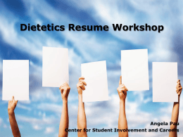 Dietetics Resume Workshop 2015