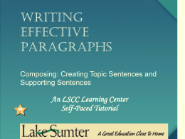 Writing Effective Paragraphs